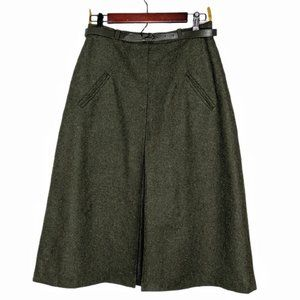 Vintage Bavarian Wool A-Line Loden Skirt S